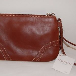 NWT COACH Brown Leather Wristlet Purse
